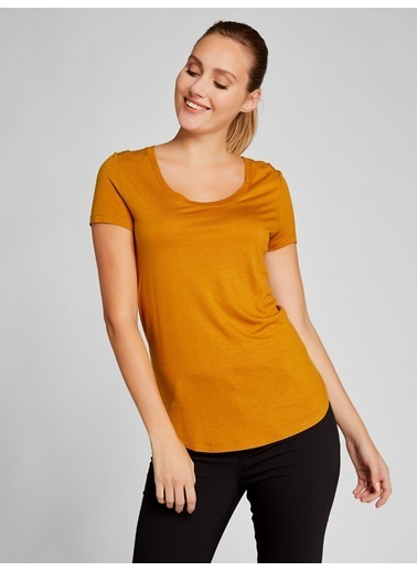 Vekem-Limited Edition U Yaka Kısa Kol Basic Bluz Sarı